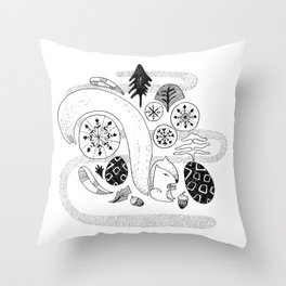 Squirrel in the forest Throw Pillow