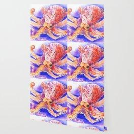 Octopus, red blue beach design artwork Wallpaper