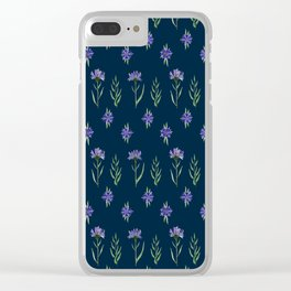 Floral pattern wth blue cornflowers Clear iPhone Case