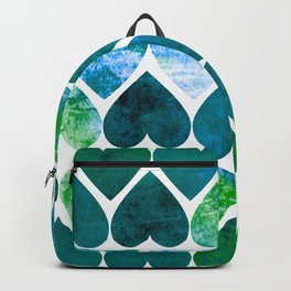 Mod Green & Blue Grungy Hearts Design Backpack