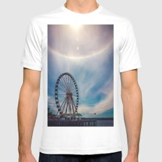 Seattle Great Wheel White MEDIUM Mens Fitted Tee