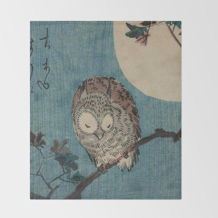 Vintage Japanese Owl Throw Blanket