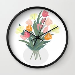 Bouquet of tulips in glass vase Wall Clock