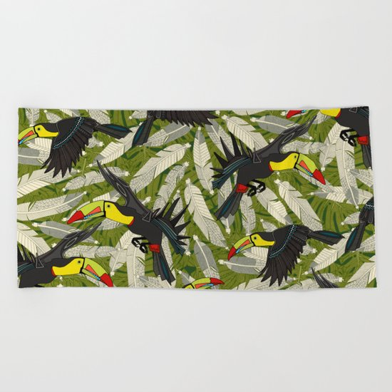 toucan jungle Beach Towel