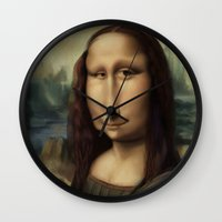 mona lisa Wall Clocks featuring Mona Lisa by Alexander Novoseltsev