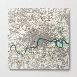 London and Environs, Sepia and Teal Blue Vintage-style Map Metal Print