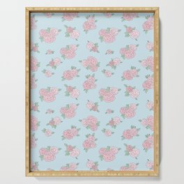 La Vie en Rose - Pink Blue Roses Pattern Serving Tray