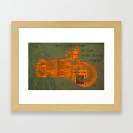 Orange and green abstract motorcycle, man cave decoration, gift for him Framed Art Print
