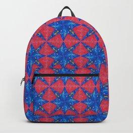 stelle blu su fondo rosso Backpack