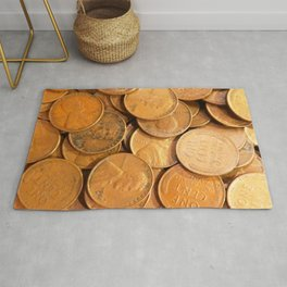 Watercolor Coins, Lincoln Wheat Pennies, 1952 01 Rug
