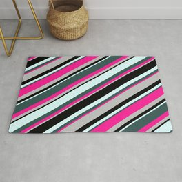 Colorful Light Cyan, Dark Slate Gray, Deep Pink, Grey & Black Colored Lines/Stripes Pattern Rug