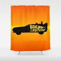delorean Shower Curtains featuring Back To The Future, DeLorean, 30th anniversary, 1985-2015 by juStArt