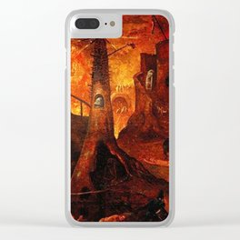 Red Hellish Landscape Clear iPhone Case