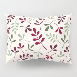 Assorted Leaf Silhouettes Ptn Reds Greens Cream Pillow Sham