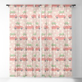 Red Vintage Holiday Christmas Cars Sheer Curtain