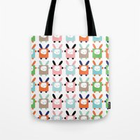 bunnies Tote Bags featuring bunnies by PETITE PATATE
