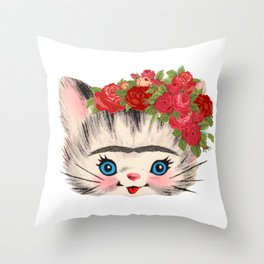 Frida Catlo Vintage Retro Cat Old Skool Throw Pillow