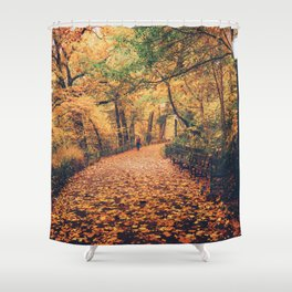 Autumn Walk New York City Shower Curtain