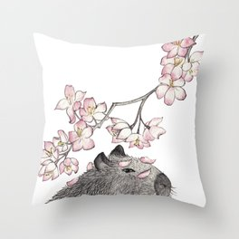 Capybara and petals Throw Pillow