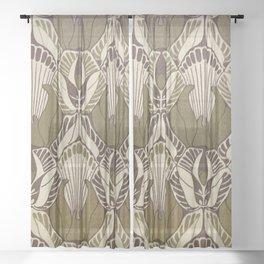 Art nouveau, neutral color pattern, floral design Sheer Curtain
