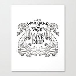 Dive Deep - Black and White Canvas Print