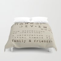 thanksgiving Duvet Covers featuring Thanksgiving Definition by Nina Hendrick Design Co.
