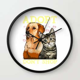 Adopt Don't Shop Cute Cat & Dog Rescue Adoption Wall Clock