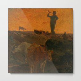 "Jean-François Millet ""Calling Home the Cows"" oil on wood Metal Print"