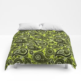 Lime Green Paisley Pattern Comforters