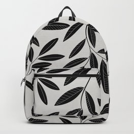 Black and White Plant Leaves Pattern Backpack