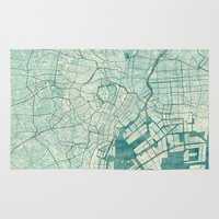 vintage map Area & Throw Rugs featuring Tokyo Map Blue Vintage by City Art Posters