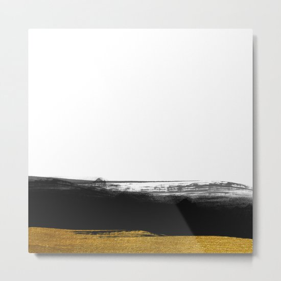 Black and Gold grunge stripes on clear white backround - Stripe- Striped Metal Print