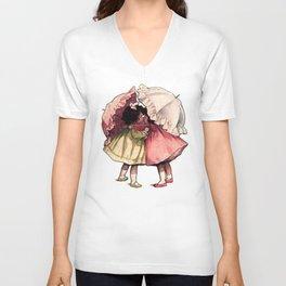 Vintage Children Girls with Umbrellas Unisex V-Neck