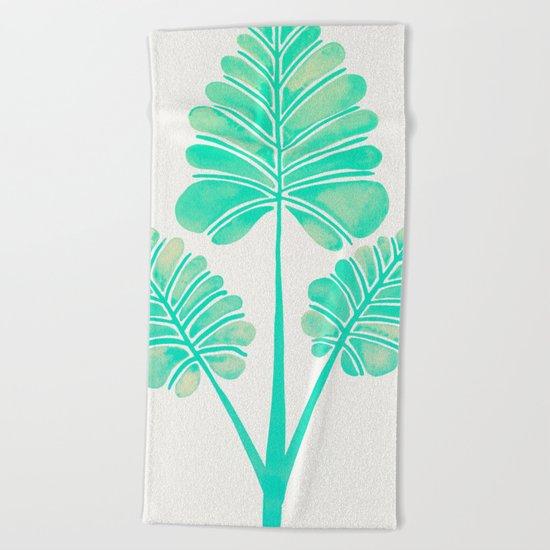 Tropical Palm Leaf Trifecta – Turquoise Palette Beach Towel