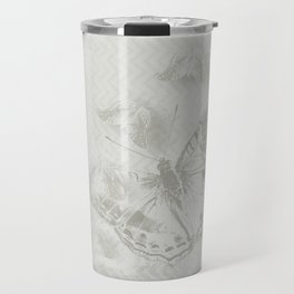 delicate butterflies and textured chevron pattern Travel Mug