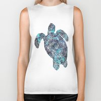 sea turtle Biker Tanks featuring Sea Turtle by LebensART
