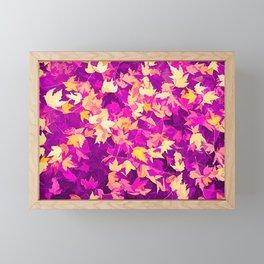 Autumn Leaves (pink & yellow) Framed Mini Art Print