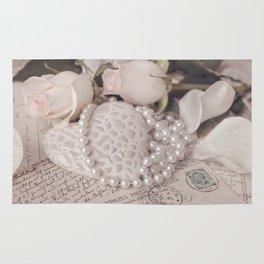 Soft Pink Nostalgic Rose and Heart Still Rug