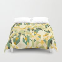 yetiland Duvet Covers featuring des-integrated tartan pattern by Yetiland