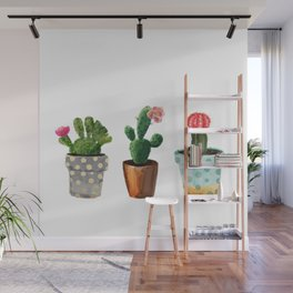 Three Cacti With Flowers On White Background Wall Mural