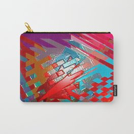 Abstract pink blue purple patchwork design Carry-All Pouch