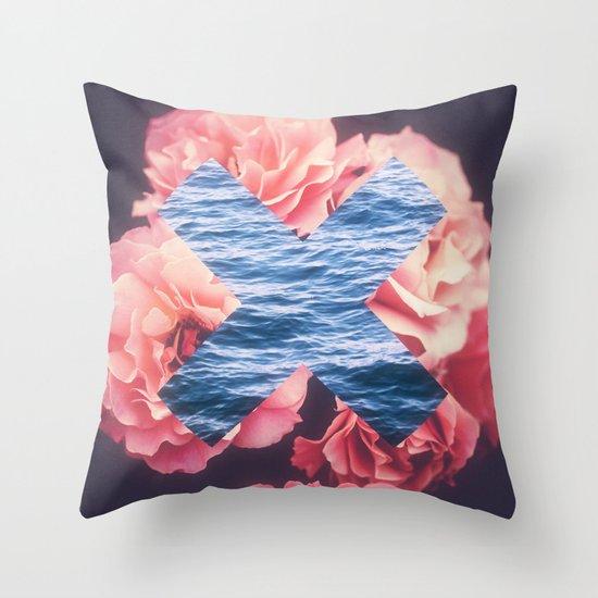 flowers - roses - ocean - waves Throw Pillow by Pierakis Kimonos Society6
