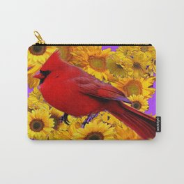 RED CARDINAL & YELLOW SUNFLOWERS PANTENE PURPLE Carry-All Pouch