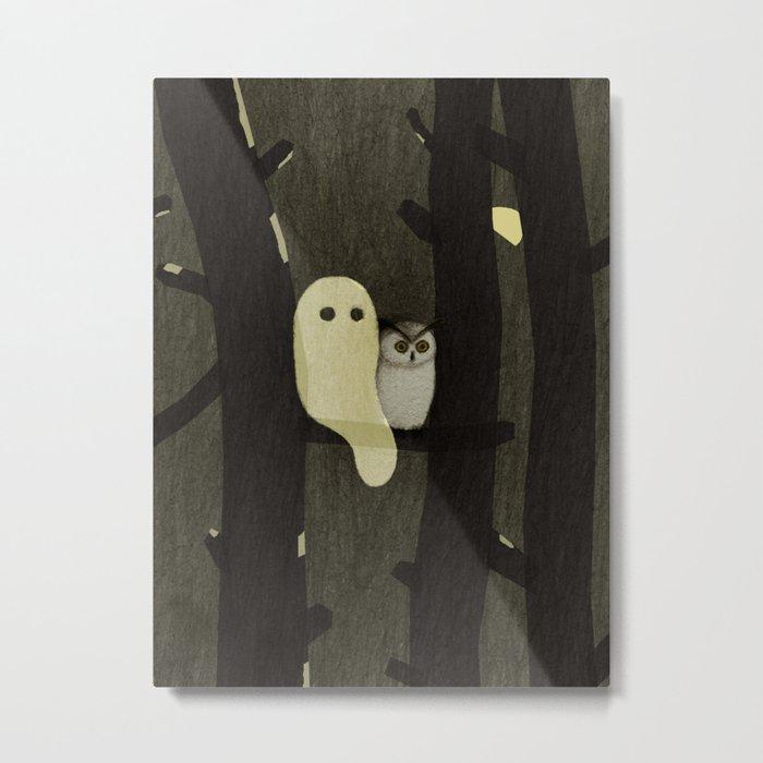 Little Ghost & Owl Metal Print
