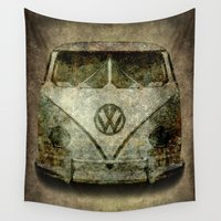 vw bus Wall Tapestries featuring VW Micro Bus  by BruceStanfieldArtist illustrator