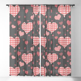 Red Gingham Hearts Sheer Curtain