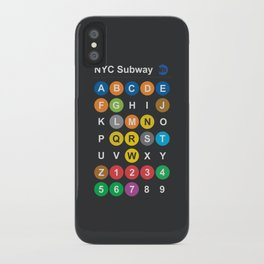 New York City subway alphabet map, NYC, lettering illustration, dark version, usa typography iPhone Case