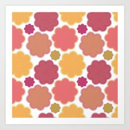 Flowers, Petals, Blossoms - Yellow Green Pink Art Print