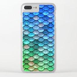 Aqua Teal & Green Shiny Mermaid Glitter Scales Clear iPhone Case