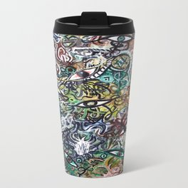 Abstract Psychedelic Geometric Eyes Painting Travel Mug
